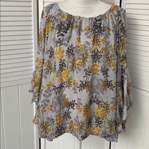 Fever grey/yellow large top bell sleeves